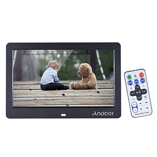Digital Picture Frame, Andoer 10 inch Digital Photo Frame HD Wide Screen Electronic Photo Frame with Remote Control and CR2025 Controller Battery 1280x600 High Resolution Clock Calendar MP3 MP4 Movie