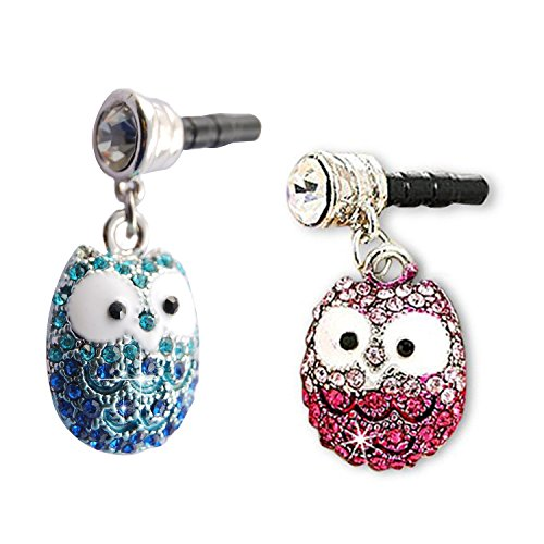 Zentto 2 Pcs Cute Rhinestone Bling Owl Dust Plug Headset Cell Phone 3.5mm Earphone Jack Phone Charm Dustproof Plug Ear Dust Cap for iPhone Android