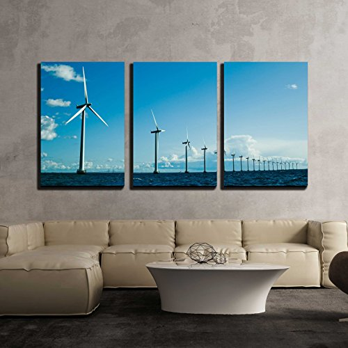 Wind Generator Towers (wall26 - 3 Piece Canvas Wall Art - Windmills in a Row Further, Horizontal, Wide Shot, Denmark - Modern Home Decor Stretched and Framed Ready to Hang - 24