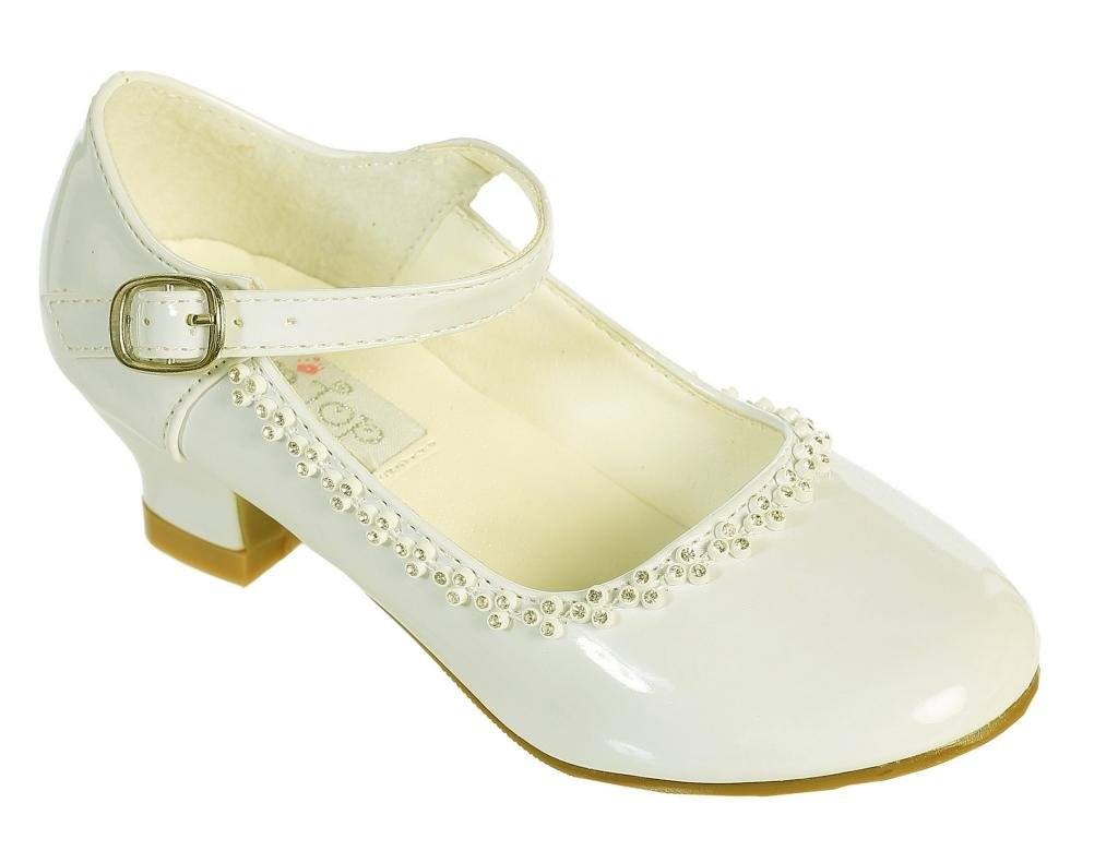 Charming Mary Jane Party Shoes with Crystal Detailing ivory size 9