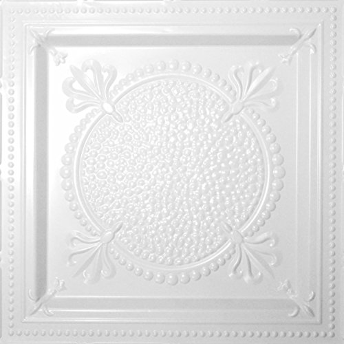Shanko W518DA Pattern 518 Pressed Metal Wall and Ceiling Tiles, 20 sq. ft, White, 5 Piece