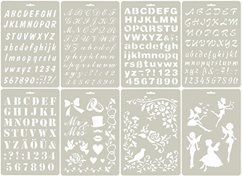 SKATAN 8Pcs Drawing Painting Stencils , Fits a Wide Range of Scrapbooking, Crafting, Cards, Include 5 Letter Nunber & 3 (Wedding Stencils)