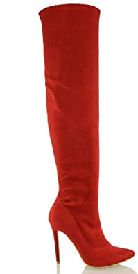LADIES WOMENS OVER THE KNEE THIGH HIGH STILETTO HEEL BOOTS STRETCH CALF WIDE LEG