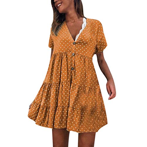 (Women's Polka Dot Short Dresses Casual Loose Sexy V-Neck Short Sleeve Button Pleated Shirt Dress)
