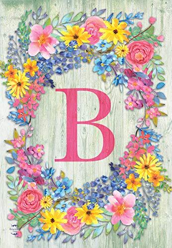 Briarwood Lane Spring Monogram Letter B Garden Flag Floral Wreath 12.5