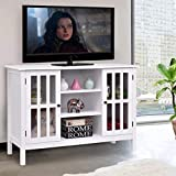 "Tangkula Wood TV Stand Storage Console Free Standing Cabinet Holds Up to A 45"" TV (White)"