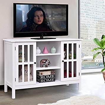 Amazon Com Tangkula Wood Tv Stand Storage Console Free Standing
