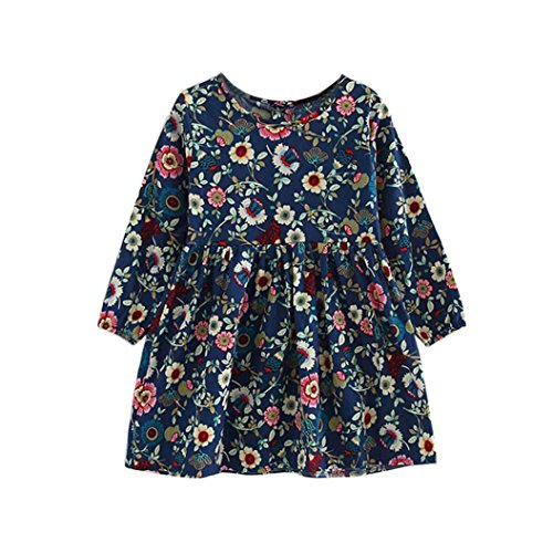 kaifongfu Toddler Dresse,Baby Girls Dress Long Sleeve Pageant Dresses Kids Clothes (100♣♣3-4T, Navy) (Overlay Onesie Dress)