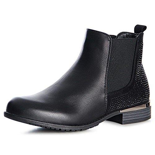 Femmes Noir Bottines Chelsea Boots Topschuhe24 OUHqdwH