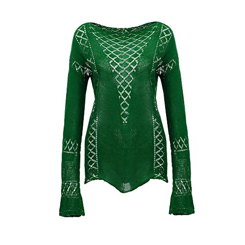 Manches Tricot Blouses Chemise Vert Femme Dames Chemises Tops Casual Blouse Baggy Tonsee Longues Creux aqg4AAR