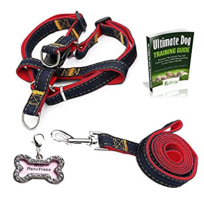 Olivery No-Pul Dog Leash Harness Set, FREE ID Tag, Adjustable Heavy Duty Denim Harness Leash Set for Large/Medium/Small/Extra-Small Pet Training & Everyday Walking