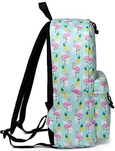 School Backpacks for Girls,Vaschy Cute Lightweight Water-Resistant w 14in Padded Laptop Sleeve in Pineapple Flamingos by Vaschy (Image #4)