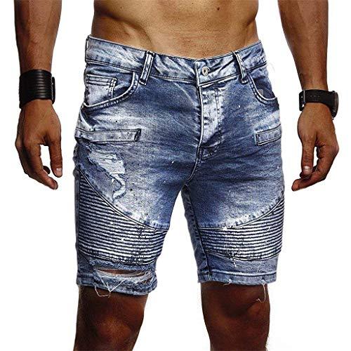 Hunauoo Summer Mens Harem Jeans Cotton Sports Skate Board Hommes Short Pant Blue