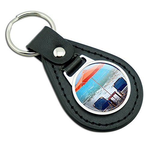 Beach Chair Ocean Vacation Black Leather Metal Keychain Key - Chair Leather Ocean