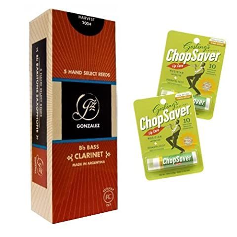 Bass Clarinet Reeds Pack Of 5 Reeds Strength 2.5 With Bonus 2 Pack Of Chopsaver Lip Balm - Chopsaver Lip Balm
