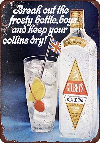 Nice Tin Sign Aluminum Retro 1963 Gilbey's Gin Collins Cocktail Metal Sign 8 X 12 ()