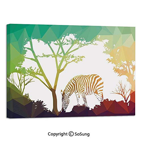 Modern Salon Theme Mural Digital Zebra Figure in Fractal Display Vivid Colors A Look at Kenya Illustration Painting Canvas Wall Art for Home Decor 24x36inches Multi