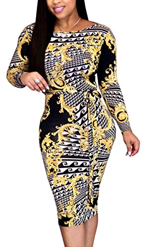 Women Sexy Scoop Neck Pencil Dress Elegant Unique Floral Print Long Sleeve Stretchable Casual Bussiness Suiting Belt in Waist (Dress Women Handbags For)