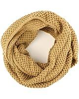 Winter Solid Waffle Chunky Knit Loop Cowl Infinity Hood Chain Scarf Ski Khaki