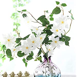 Skyseen 5Pcs Artificial Flowers Clematis Florida Thunb Fake Clematis Florida Plants Wedding, Room, Home, Hotel, Party Decoration (White) 6