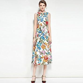 kekafu La mujer va Boho chic de la calle una línea vestido floral,cuello redondo