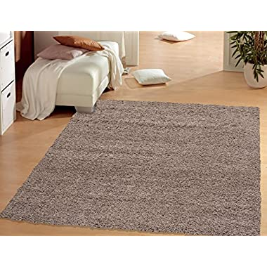 Sweet Home Stores Cozy Shag Collection Solid Shag Rug Contemporary Living & Bedroom Soft Shaggy Area Rug, 60  L x 84  W,  Beige