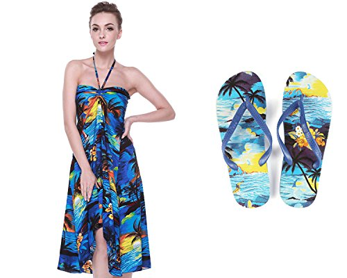 Vestito da donna luau abbinato alla signora Vestito a farfalla Aloha e Infradito in Tramonto blu Farfalla Vestito L Sandalo 8
