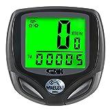 Zakerda Bike Speedometer, Bicycle Odometer, Bike Computer LCD Display, Waterproof IP68, Wireless, LCD Display, Multi Function