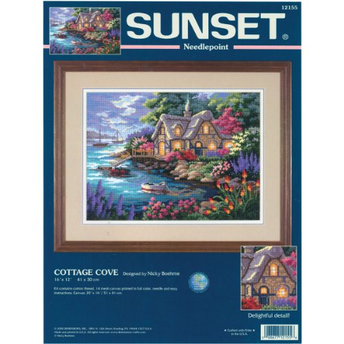 - Dimensions Needlepoint Kit, Cottage Cove, 16'' x 12''