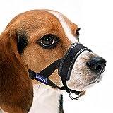 Barkless Dog Muzzle, Adjustable Loop with Extra Soft Padding, Nylon Black (L)