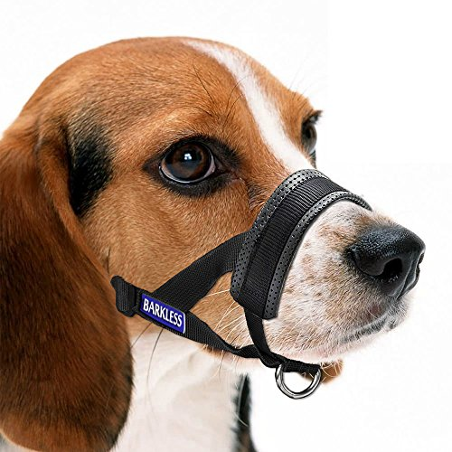 Barkless Dog Muzzle, Adjustable Loop with Extra Soft Padding, Nylon Black (XL)