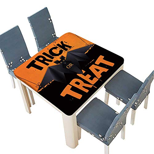 PINAFORE Polyester Tablecloth Table Cover Hanging Origami bat and Trick or Treat Halloween Text for Dining Room 53 x 53 INCH (Elastic Edge) -