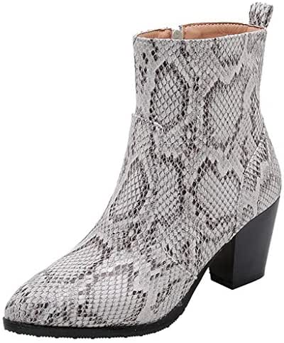 Women's Elastic Stretchy Sock Pointed Toe Low Kitten Heel Ankle Boots Snakeskin Booties with Comfortable Heels LONGDAY