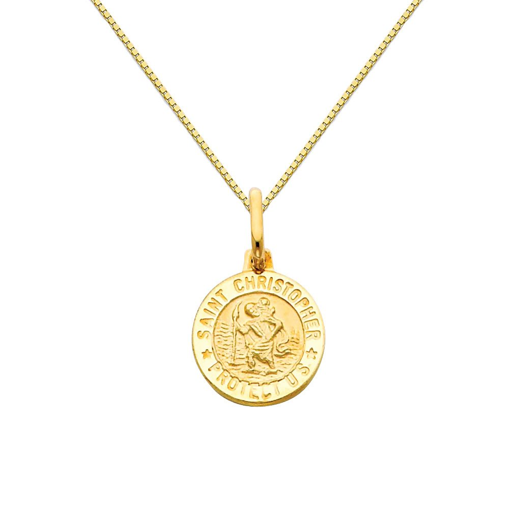 14k Yellow Gold Religious Saint Christopher Medal Pendant with 0.65mm Box Link Chain Necklace - 18''
