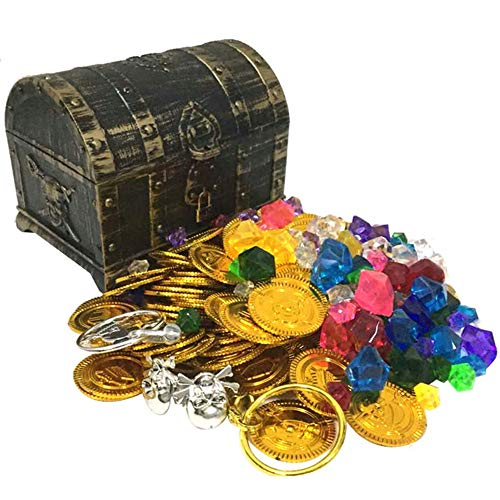 YUSDP Treasure Chest Piggy Bank Large Box Toy Plastic with Free Gold Coins Gems Jewelry Design Perfect for Boys Kids Girls Children with Gifts Nursery Decor