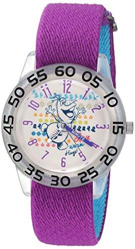 Disney Girl's 'Frozen Olaf' Quartz Plastic and Nylon Casual Watch, Color:Purple (Model: WDS000175)