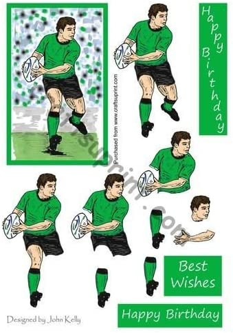 Rugby Player Green /& Black Decoupage by John Kelly