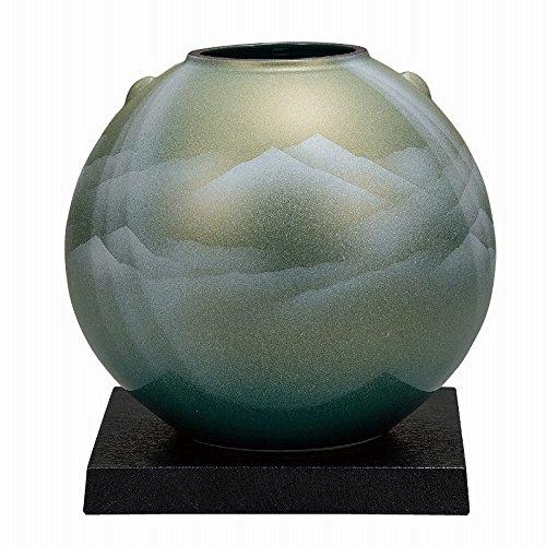 Jpanese traditional ceramic Kutani ware. Ikebana flower vase. Shiney mountains. With wooden box. ktn-K5-1308