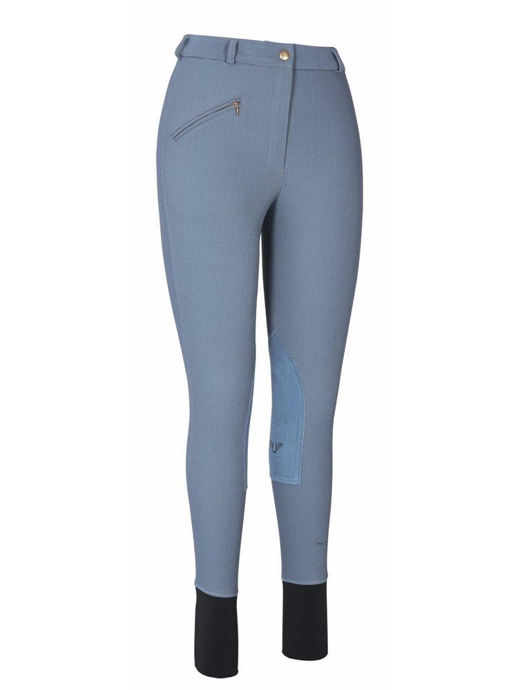 TuffRider Women's Ribb Knee Patch Breeches (Regular), Smoke, 24