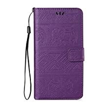 iPhone 6S Plus / 6 Plus Case [with Free USB Charging Cable], ESSTORE Retro Elephant PU Leather Protective Cover with Card Slot Holder Wallet Case for Apple iPhone 6S / 6 Plus 5.5 Inch, Purple