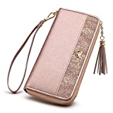 FOXER Women RFID Blocking Leather Wallet Bifold Wallet Clutch Wallet with Wristlet Card Holder (Rose Gold)