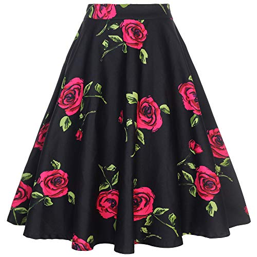 Tailloday 1950's Vintage Full Circle Pleated Floral A Line Midi Skirt (2XL, ()