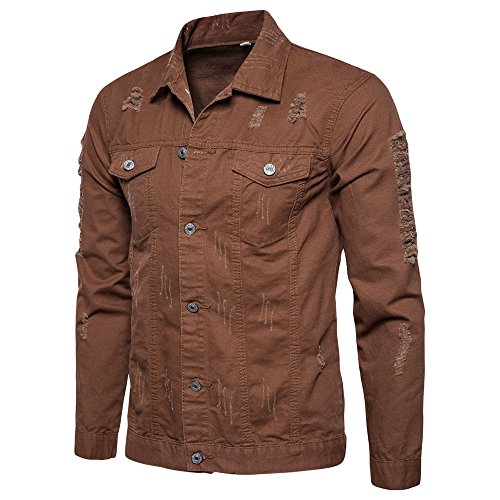 Realdo Mens Ripped Jeans Coat, Clearance Sale Men's Solid Button Down Shirt Hole Denim Jacket Outwear(Large,Coffee)