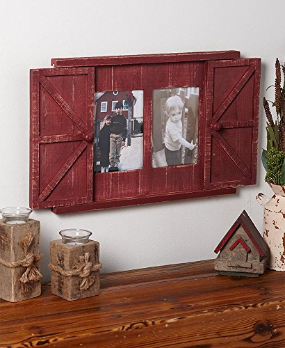 The Lakeside Collection Barn Door Photo Frames- Country Red