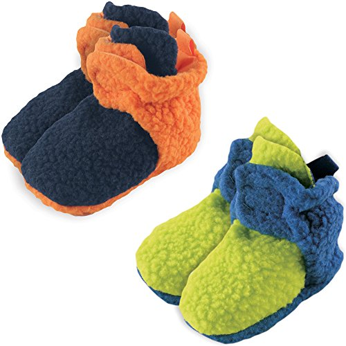 luvable-friends-fleece-scooties-2-pack-orange-and-lime-6-12-months