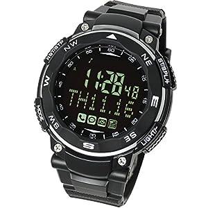 【ラドウェザー】スマートウォッチ SNS/着信/メール 通知機能 運動/睡眠管理 遠隔カメラ操作 デジタル腕時計