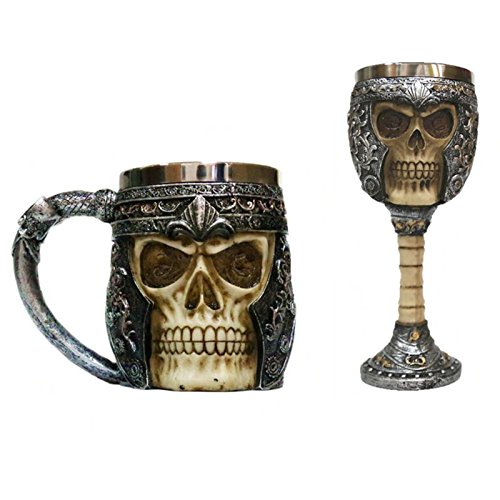 WXLAA 3D Skull Coffee Mug, Gothic Ossuary Style Beer Cups Striking Travel Cup, 2 Pcs