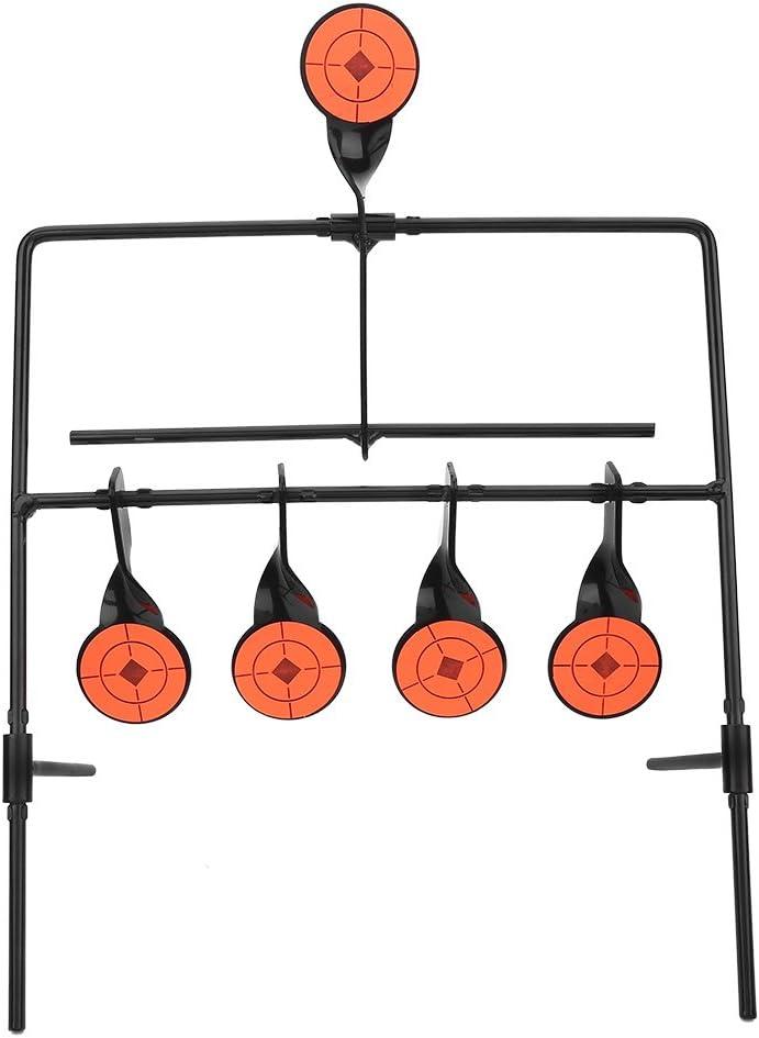 Soportes de Objetivo de Tiro, 5 Blancos Giratorios de Reinicio Automático para Práctica de Tiro, Hilado Giratorio de Metal Disparos para Entrenamiento de Caza, Arco, Pistolas de Aire Comprimido
