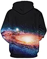 GLUDEAR Unisex Realistic 3D Digital Print Pullover Hoodie Hooded Sweatshirt,Galaxy Cat,L/XL