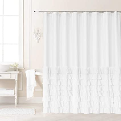 Swell Ameritex Ruffle Shower Curtain Home Decor Soft Polyester Decorative Bathroom Accessories Great For Showers Bathtubs Large Size 72 X 72 Download Free Architecture Designs Jebrpmadebymaigaardcom